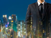 Business man in suit on city background Royalty Free Stock Photos