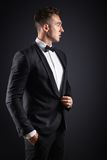 Business man in suit on a dark background Stock Photos