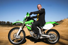 Business Man Suit Dirtbike Stock Images
