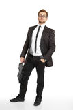 Business man in suit and glasses standing Royalty Free Stock Images