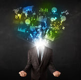 Business man in suit with graph and charts exploding from his bo royalty free stock images