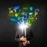 Business man in suit with graph and charts exploding from his bo Royalty Free Stock Photo