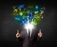 Business man in suit with graph and charts exploding from his bo vector illustration