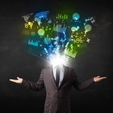 Business man in suit with graph and charts exploding from his bo stock illustration