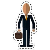 Business man suit necktie and portfolio-dot line Royalty Free Stock Photos