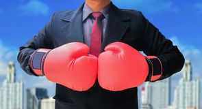Business man in suit ready for fight stock photos