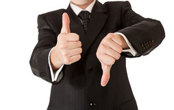 Business man in suit thumbs up Royalty Free Stock Photo