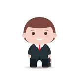 Business man with suitcase. Flat illustration isolated on white background. Stock Photography