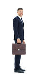 Business man with suitcase  isolated on white background Stock Images