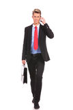 Business man with suitcase walking Stock Photography