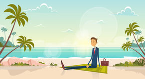 Business Man On Summer Vacation Sea Shore Sit Sand Beach Blue Sky Sun. Vector Illustration royalty free illustration