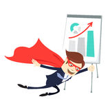 Business man superman flying in front of flipchart with arrow up. Vector illustration Business man superman flying in front of flipchart with graphic arrow up Stock Image