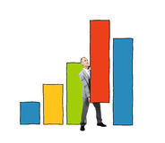 Business Man Supporting Bar Graph Royalty Free Stock Images