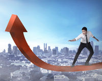 Business Man Surfing The Chart Royalty Free Stock Images
