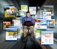 Business man Surfing Internet Web Sites Royalty Free Stock Image