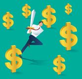 Business man with sword running and dollar icon, business concept of successful    vector illustration. Business man with sword running and dollar icon, business Royalty Free Stock Image