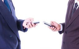 Business man sync smart phone Stock Photo