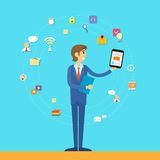 Business man tablet computer icon flat design. Vector illustration Royalty Free Stock Photo