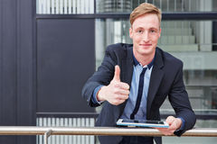 Business man with tablet computer Royalty Free Stock Photos