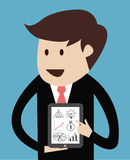 Business man with tablet concept of presentation. Vector Royalty Free Stock Photo