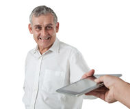 Business man with tablet pc Stock Photo