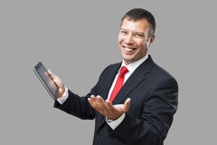 Business man tablet pc Stock Images