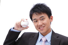 Business Man Take baseball Stock Image