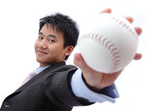 Business man take baseball Royalty Free Stock Photos