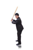 Business man take baseball bat with friendly smile Royalty Free Stock Images