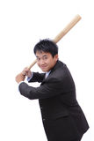 Business man take baseball bat with friendly smile. Ready for a good hit isolated on white background Stock Photography