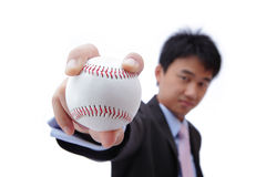 Business man take baseball with confident smile Stock Photo