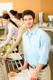 Business man take cafeteria lunch food royalty free stock image