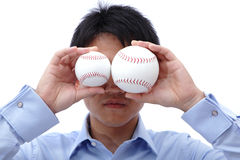 Business man take two ball Royalty Free Stock Images