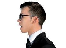 Business man talk something. Isolated business man talk something Stock Photography
