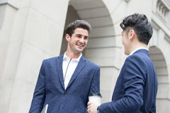 Business man talk and walk Royalty Free Stock Photography