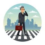 Business man talk walking street urban background Stock Photography