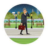 business man talk walking street view night Stock Photography