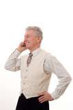 Business man talking. Portrait of mature business man talking on mobile phone Royalty Free Stock Photo