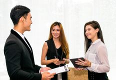 Business man and Business Woman. Business Man talking dealing with Woman to Signing Contract Stock Photo