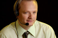Business man talking on headset, customer service Royalty Free Stock Photos