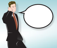 Business Man Talking on Mobile. Businessman Talking on Mobile Phone With Speech Bubble - Square Version Stock Image