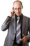 Business man talking on mobile phone Stock Photos