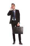 Business man talking on a  mobile phone Royalty Free Stock Image