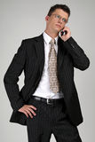 Business man talking on a mobile phone. Portrait of business man talking on a mobile phone Royalty Free Stock Images