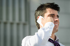 Business man talking by phone Stock Photos