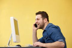 Business man talking on phone Royalty Free Stock Photography