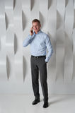 Business man talking on phone in modern office Royalty Free Stock Photo