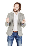 Business man talking during presentation and using hand gestures royalty free stock images