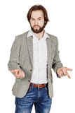 Business man talking during presentation and using hand gestures. Portrait of bearded business man talking during presentation and using hand gestures. emotions Stock Image