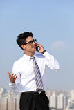 Business man talking on smart phone Royalty Free Stock Image